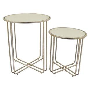 Mercer41 Lansdown Metal Mirror Top End Table (Set of 2)