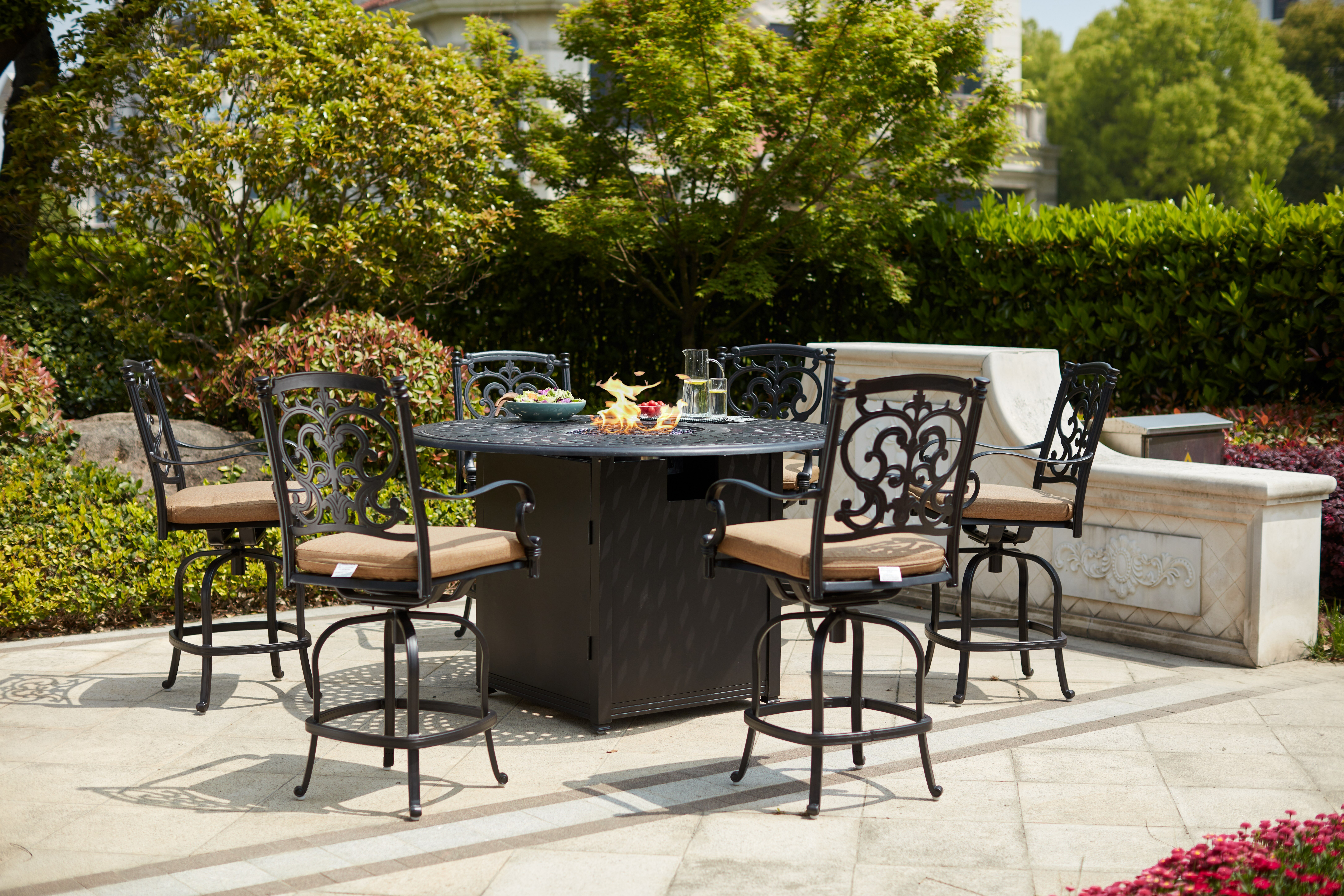 Picture of: Fleur De Lis Living Baugher 7 Piece Bar Height Dining Set With Cushions And Firepit