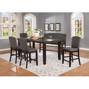 Dykstra 6 Piece Counter Height Solid Wood Dining Set DarHome Co