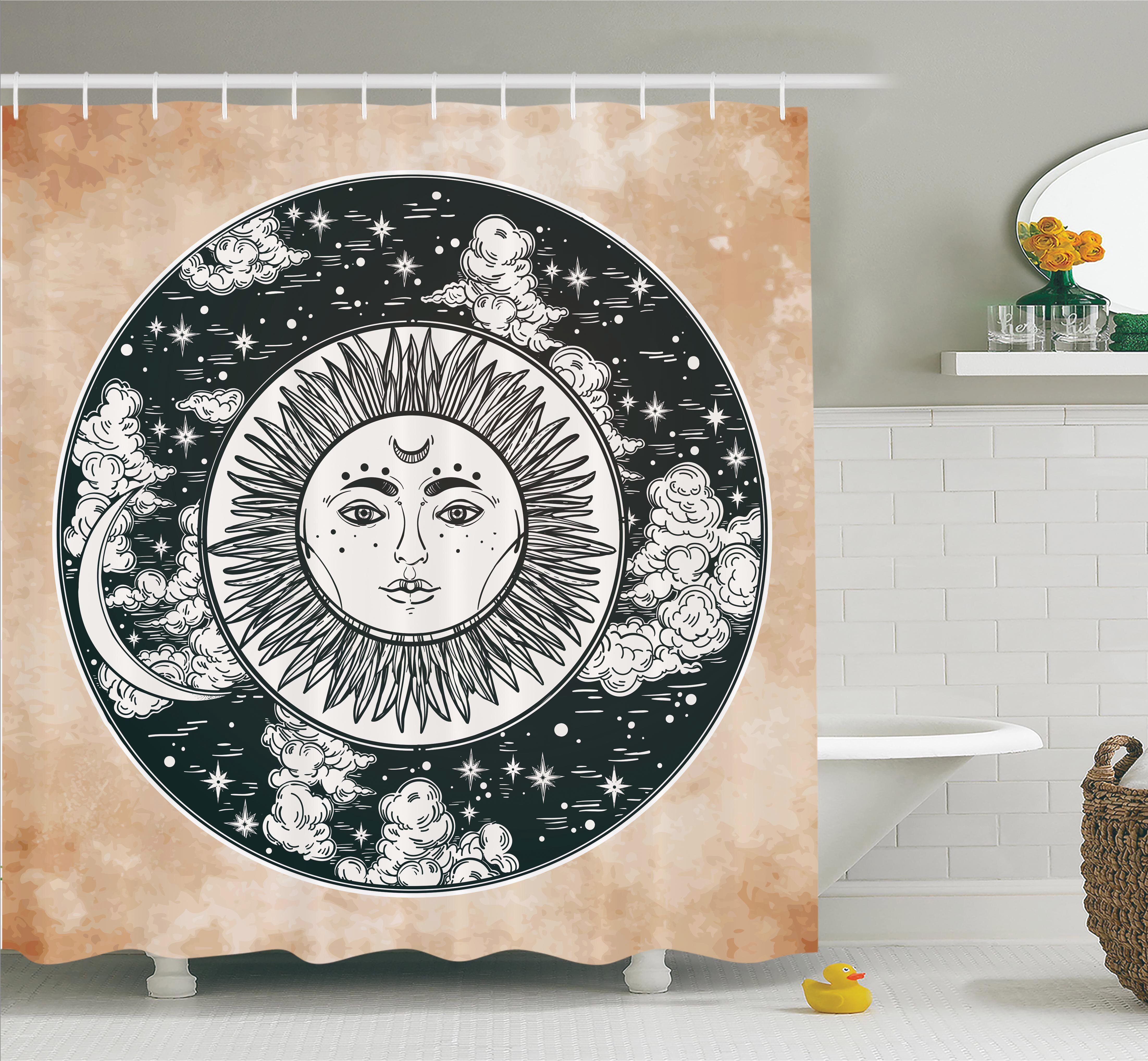 Ambesonne Ethnic Sun Face Moon Shower Curtain Set