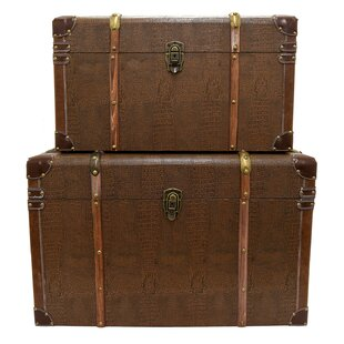 Alcott Hill Kincannon 2 Piece Wood Trunk Set
