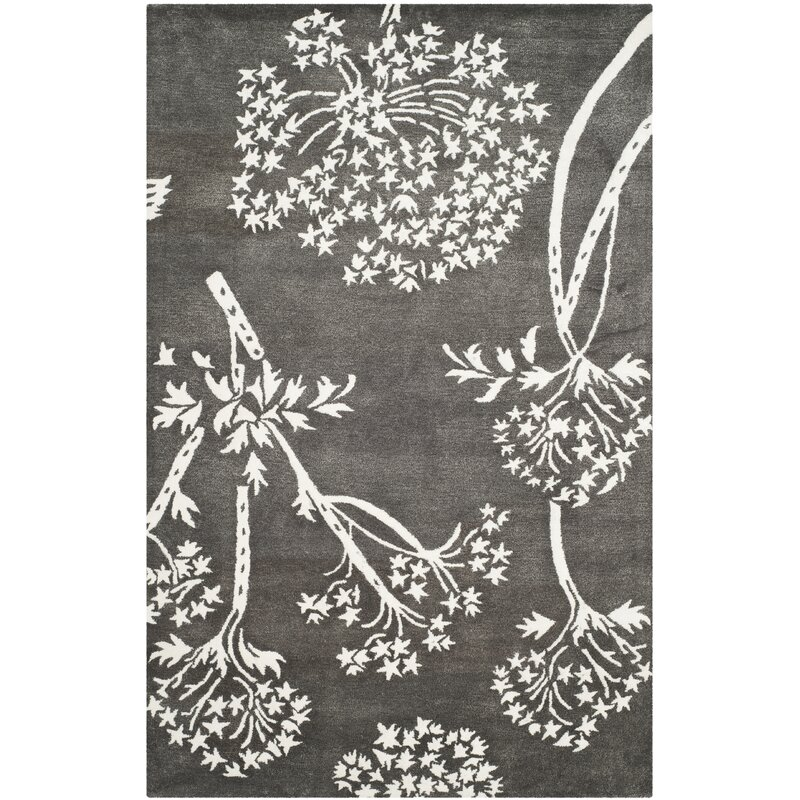 August Grove Mandy Hand-Tufted Grey/Ivory Area Rug, Size: Rectangle 8 x 10