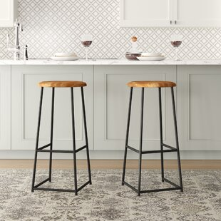 Burleigh Solid Teak 76cm Bar Stool (Set Of 2) By Williston Forge