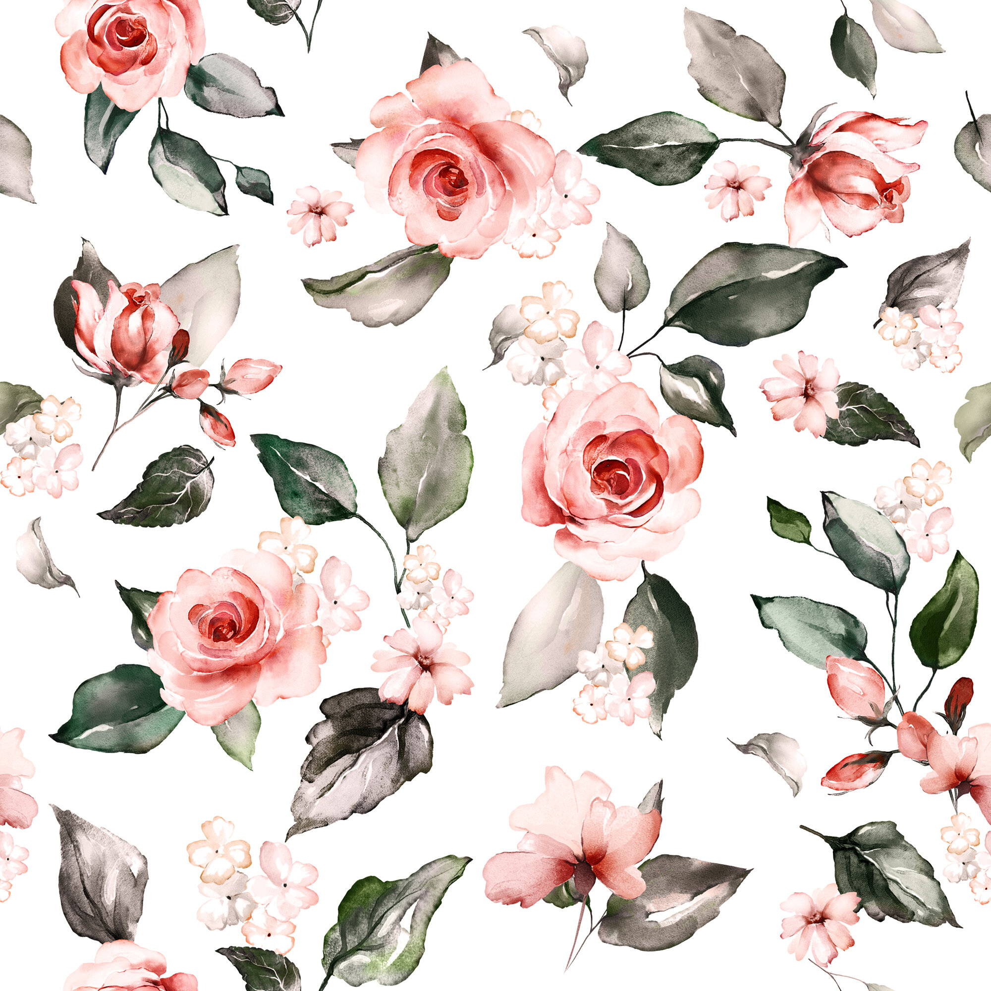 August Grove Garden Watercolor Roses 10 L X 24 W Peel And Stick Wallpaper Roll Wayfair
