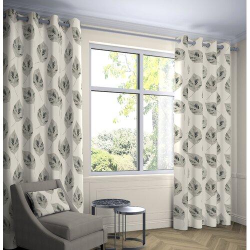 Boler Leaf Tailored Eyelet Thermal Curtains Ebern Designs Colour: Soft Grey, Panel Size: Width 228 x Drop 182 cm, Light Filtration/Thermal: Room Darke