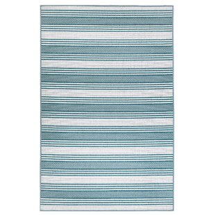 Compare prices Ricki Stripe Blue/White Indoor/Outdoor Area Rug By Highland Dunes