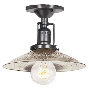 Shumway 1-Light Ribbed Glass Semi Flush Mount by Breakwater Bay