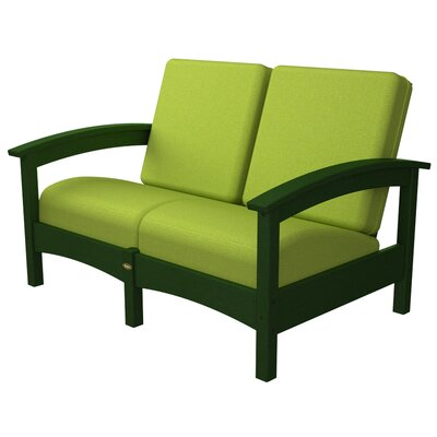 Rockport Club Deep Seating Sofa with Cushions Trex Outdoor Color: Rainforest Canopy / Macaw