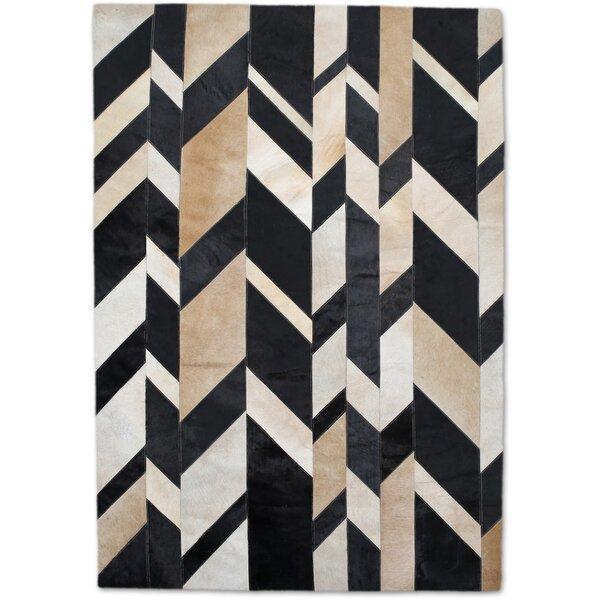 Modern Rugs Geometric Handmade Beige Black Area Rug Wayfair