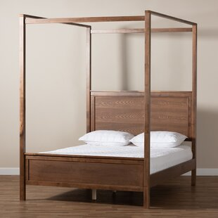 AliHassun Solid Wood Low Profile Canopy Bed