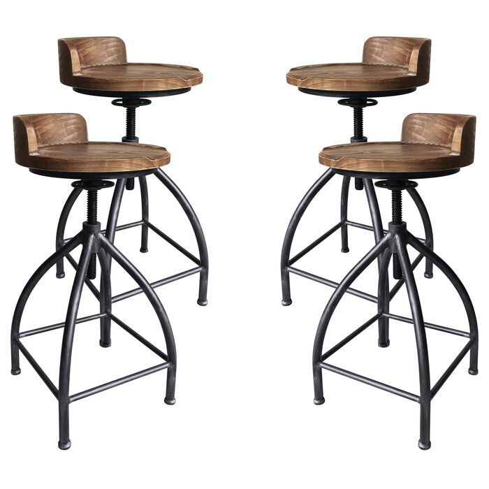 Swell Arballo Metal Adjustable Height Bar Stool Set Of 4 Gamerscity Chair Design For Home Gamerscityorg