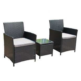 Kelsie 3 Piece Rattan 2 Person Seating Group with Cushions