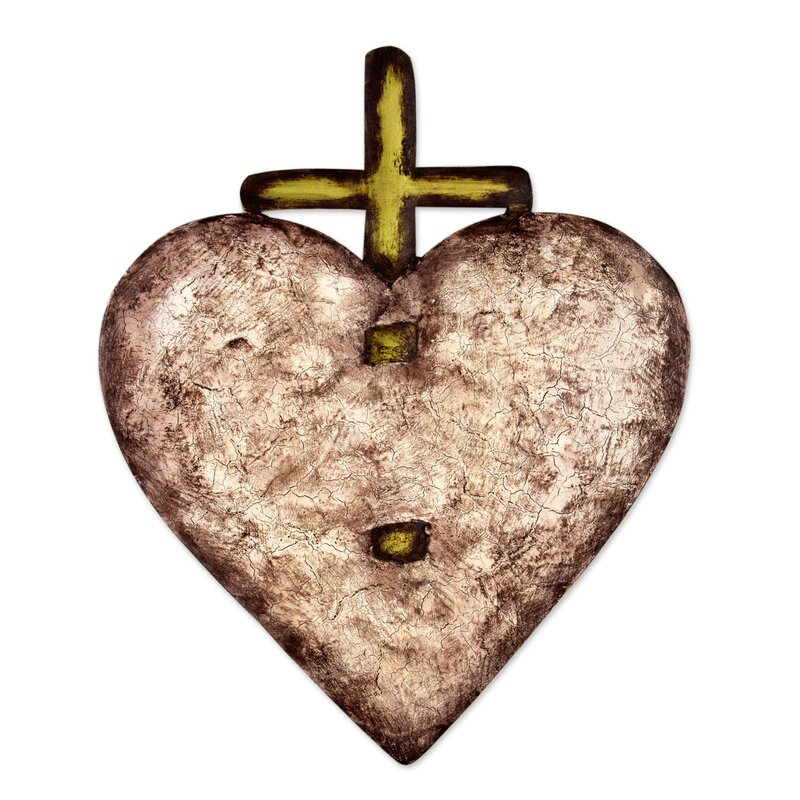 Novica Heart Divine and Crucifix Steel Heart Wall Décor | Wayfair
