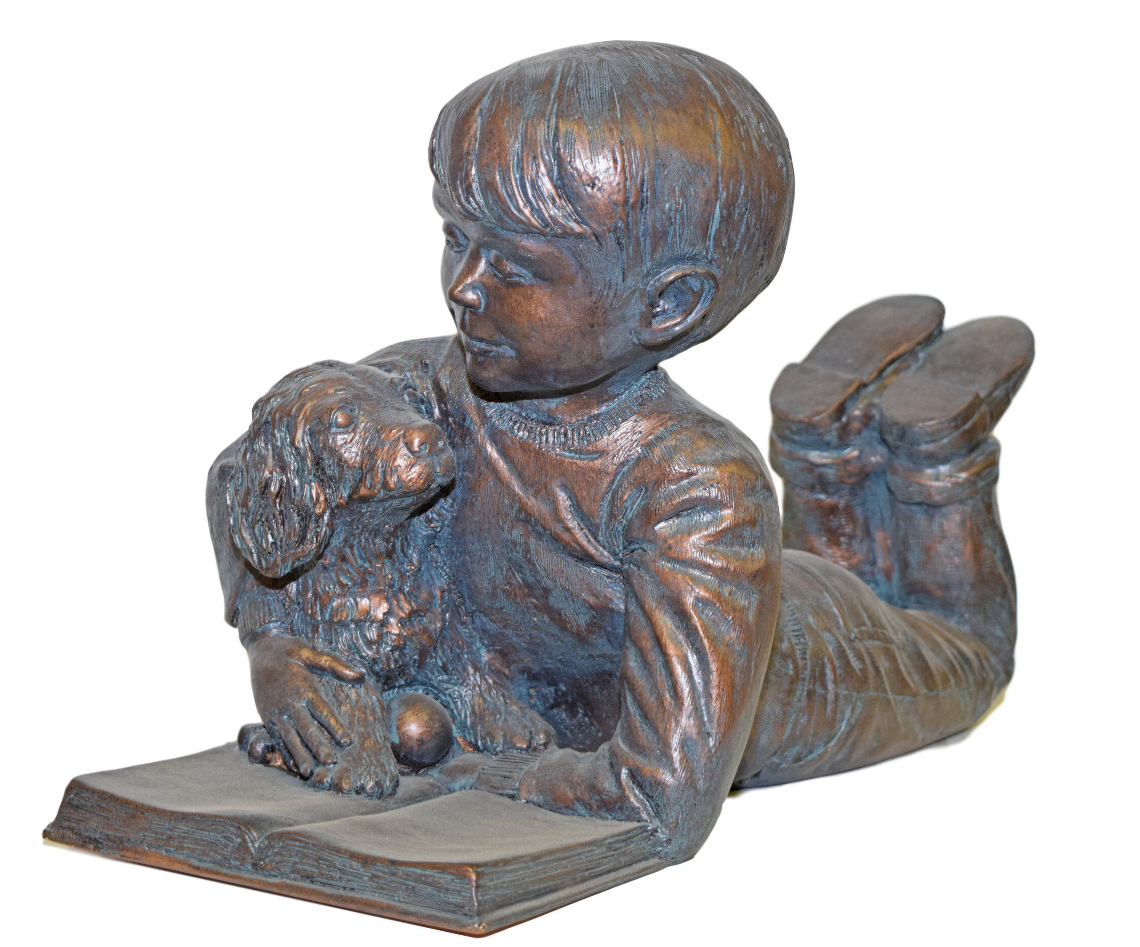 Fleur De Lis Living Weon Sammy Reading With Puppy Statue Wayfair