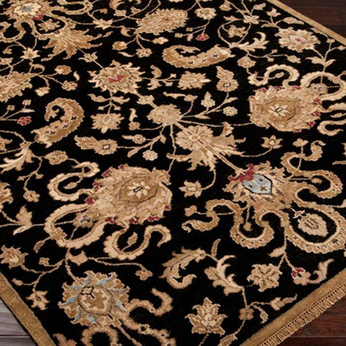 Surya Estate Floral Hand Knotted Wool Black Area Rug Wayfair