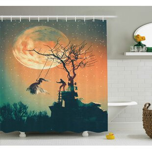 Amanda Spooky Night Zombie Bride and Groom Lady on Swing Sky Full Moon Image Single Shower Curtain