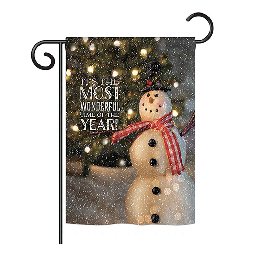 Breeze Decor Most Wonderful Time Snowman Winter Seasonal Christmas Impressions 2 Sided 19 X 13 In Garden Flag Wayfair