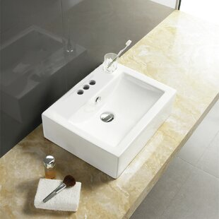 American Imaginations Ceramic Rectangular Vessel Bathroom Sink
