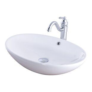 Ceramic Oval Vessel Bathroom Sink with Faucet by Novatto