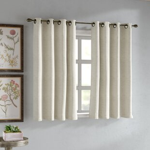 Lazzzy Kitchen Valance Semi Sheer Curtains 18 inch Long Grommet Top Curtain Casual Weave Privacy Textured Half Window Curtain 1 Panel Beige
