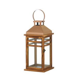 Savings Glass/Wood/Stainless Steel Lantern By Alcott Hill