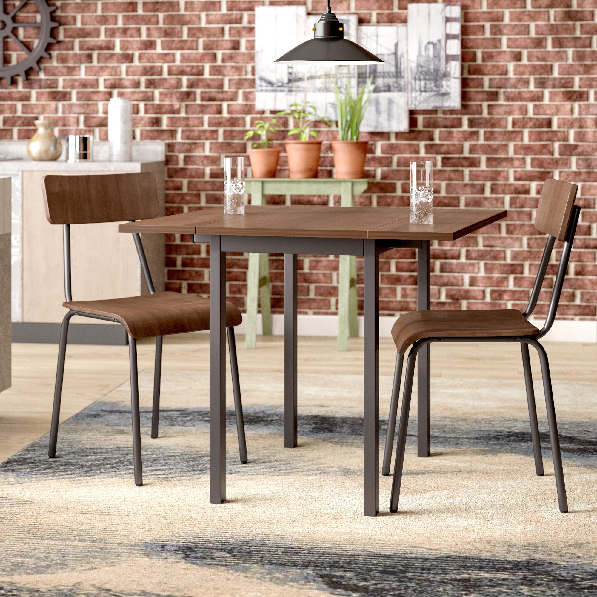 Superbe Araminta Industrial 3 Piece Drop Leaf Solid Wood Dining Set