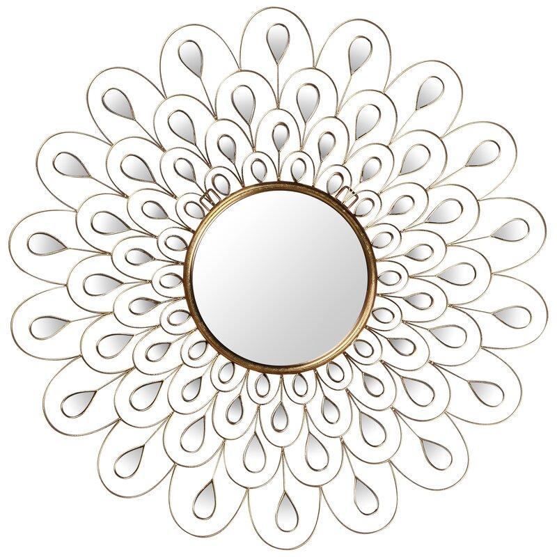 Rosdorf Park Chumasero Flower Burst Bling Round Glam Wall Mirror Wayfair