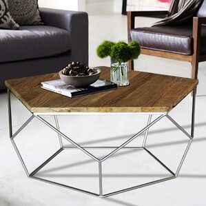 Pentagono Reclaimed Elm Wood Coffee Table by Magari