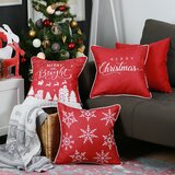 Lomonaco Merry Christmas Square Pillow Cover (Set of 4)