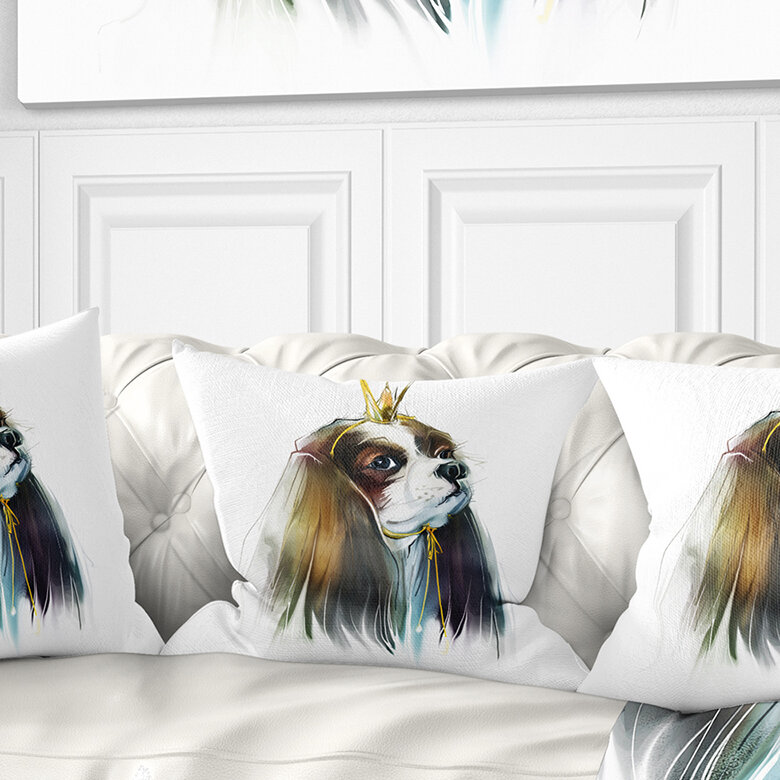 East Urban Home Animal Cute Little Dog In Crown Pillow Wayfair