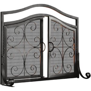 metal fireplace screens. Small Crest Iron Fireplace Screen with Doors Screens  You ll Love Wayfair