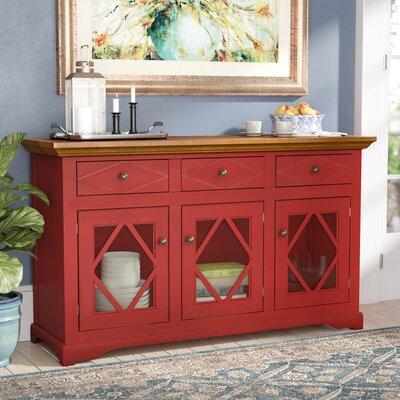 """Birch Lane Fraire 54.5"""" Wide 2 Drawer Sideboard  Base Color: European Ivory, Top Color: Havana Gold"""
