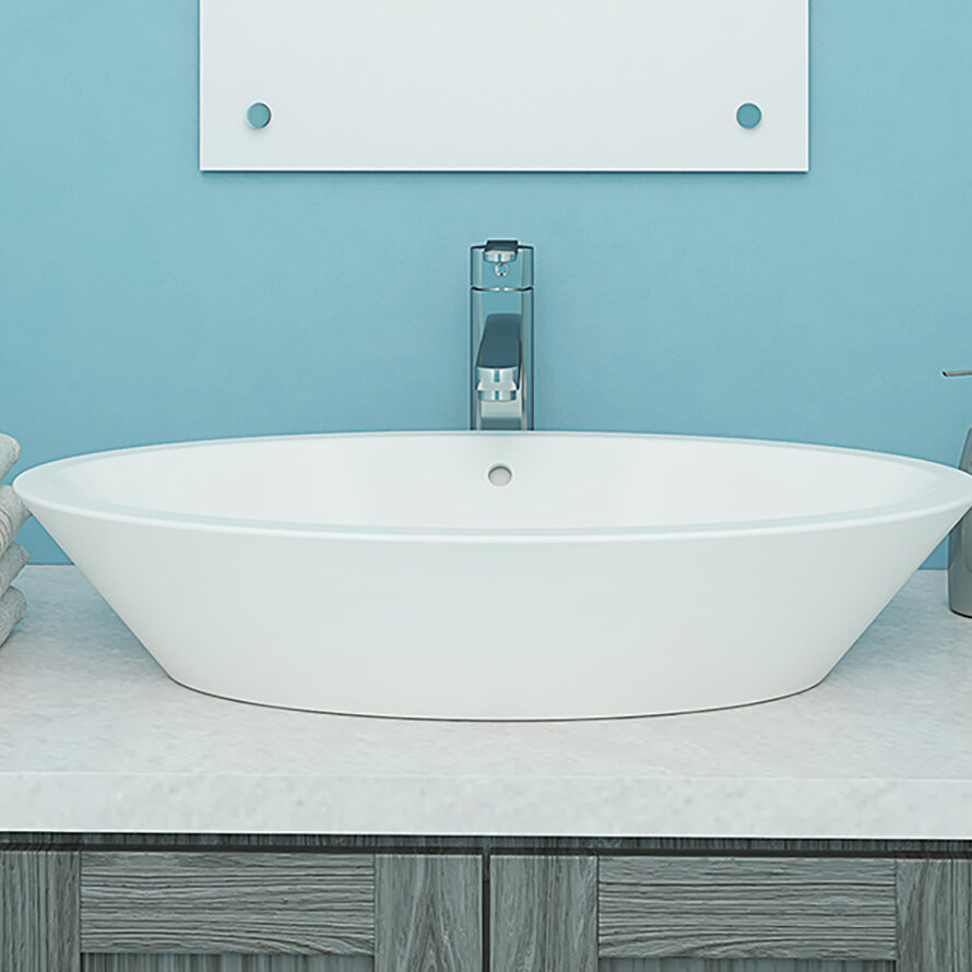 DECOLAV Shaina Classically Redefined Ceramic Oval Vessel Bathroom ...
