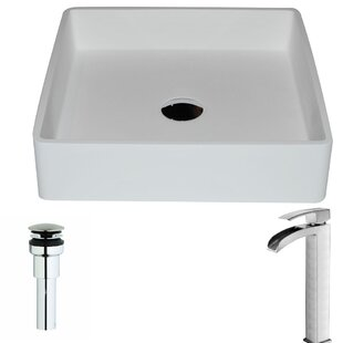 Comparison Passage Stone Square Vessel Bathroom Sink with Faucet By ANZZI