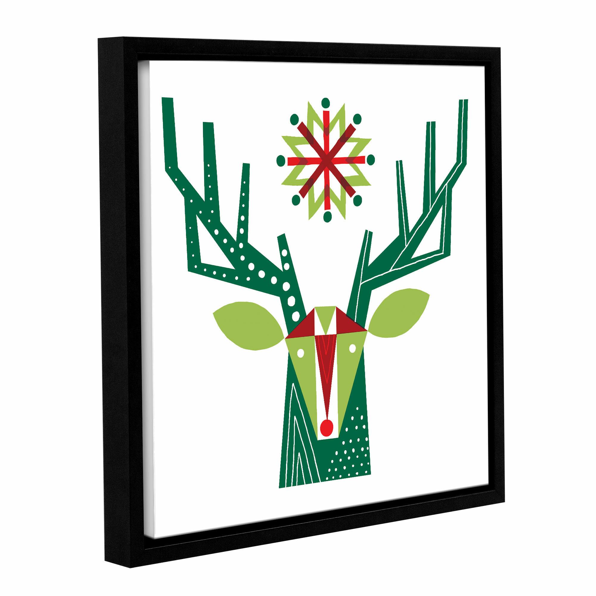 Hashtag Home Geometric Holiday Reindeer Floater Frame Print On Canvas Wayfair