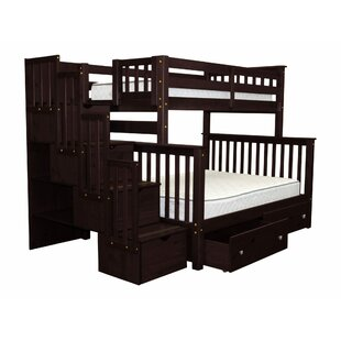 Tena Twin Over Full Stairway Bunk Bed with Drawers