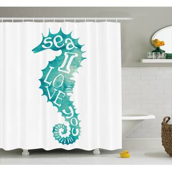 Highland Dunes Roxanna Love Is In Sunny Sea Shower Curtain Hooks Wayfair