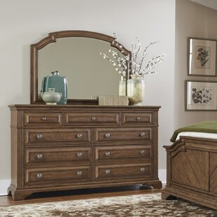 Huddleston 9 Drawer Double Dresser with Mirror by Loon Peak