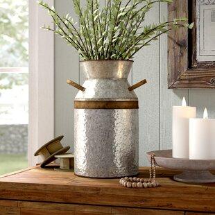 Elio Grey/Brown Metal Table Vase