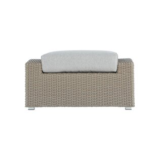 Pleasant Avenue Brick Outdoor Teak Ottoman with Cushion by Rosecliff Heights