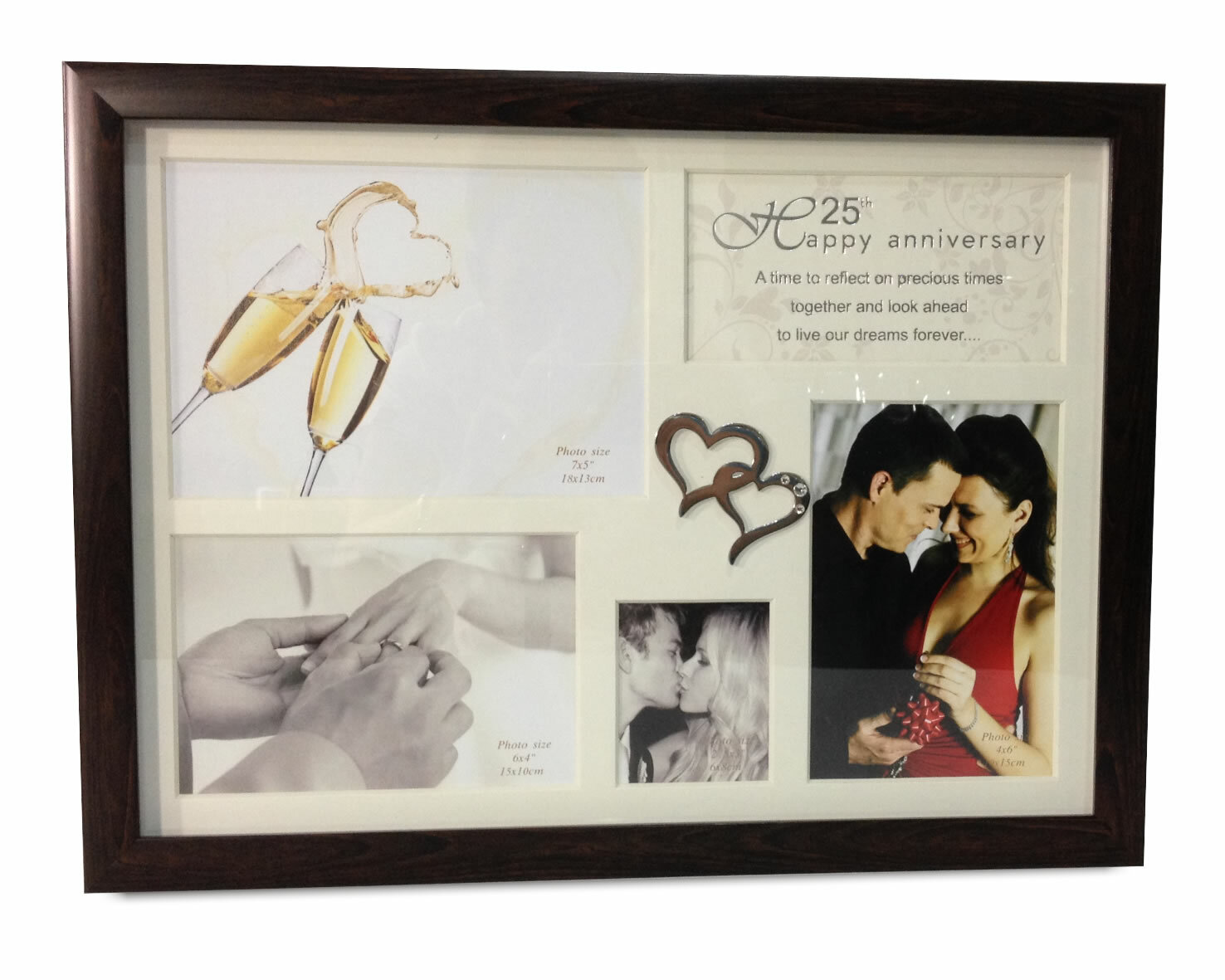 Red Barrel Studio Ilka 25th Anniversary Collage With Double Heart Icon Picture Frame Wayfair