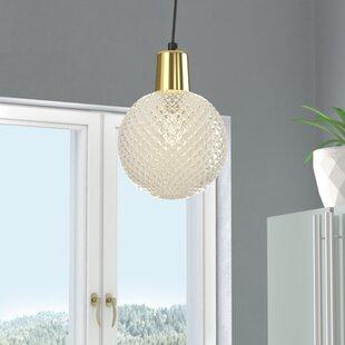 Wrought Studio Brackman Etched Glass 1-Light Globe Pendant
