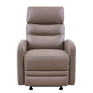 Goodlow Contemporary Leather Power Swivel Recliner by Latitude Run