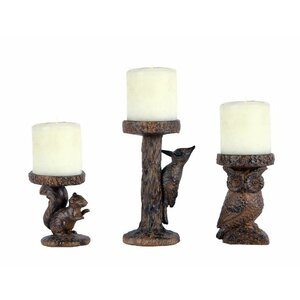 Woodland 3 Piece Candlestick Set