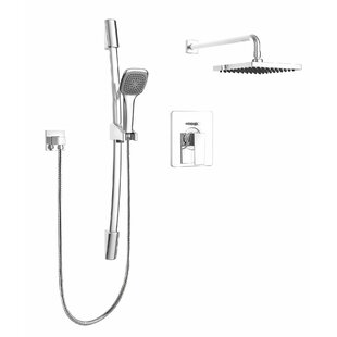Modern Square Faucet Pressure Balanced Dual Function Dual Shower Head Complete  Shower System