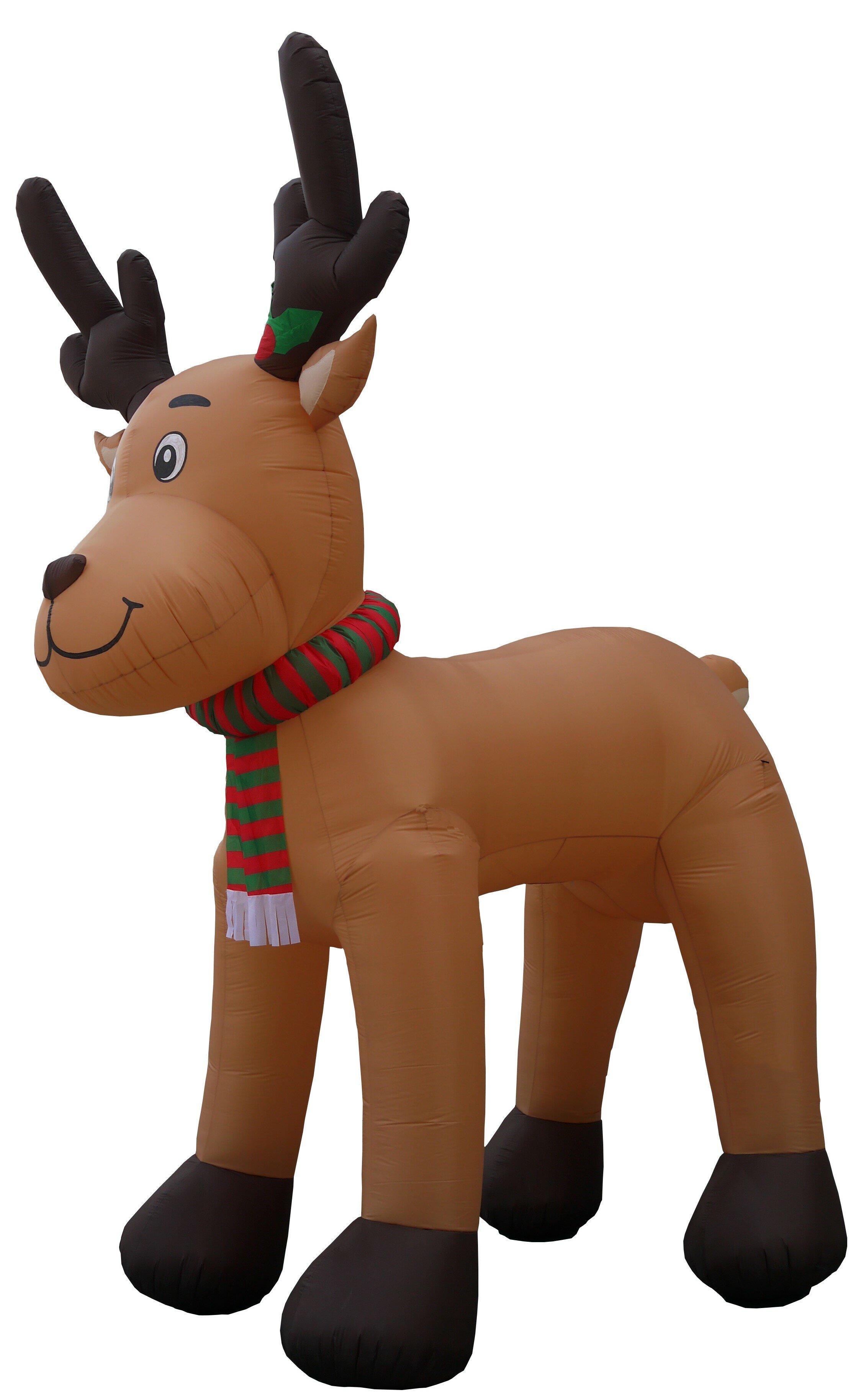 Inflatable reindeer on large dragon
