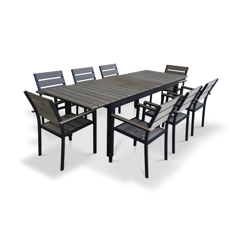 Urban Furnishings 9 Piece Extendable Outdoor Dining Set