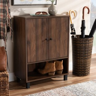 2-Door Wood Entryway 8 Pair Shoe Storage Cabinet