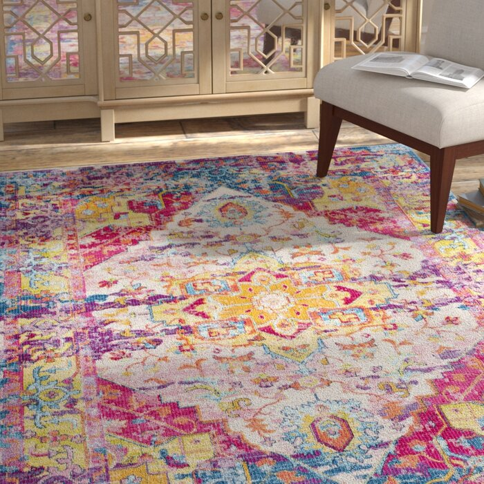 Tillamook Bright Pink Rose Blue Area Rug