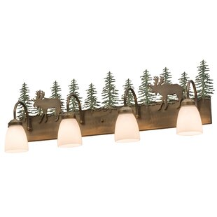 Meyda Tiffany Greenbriar Oak Wandering Moose 4-Light Vanity Light